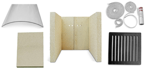 Ersatzteile eines Kaminofens