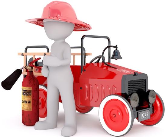 Feuerwehrauto mit Strichmännchen